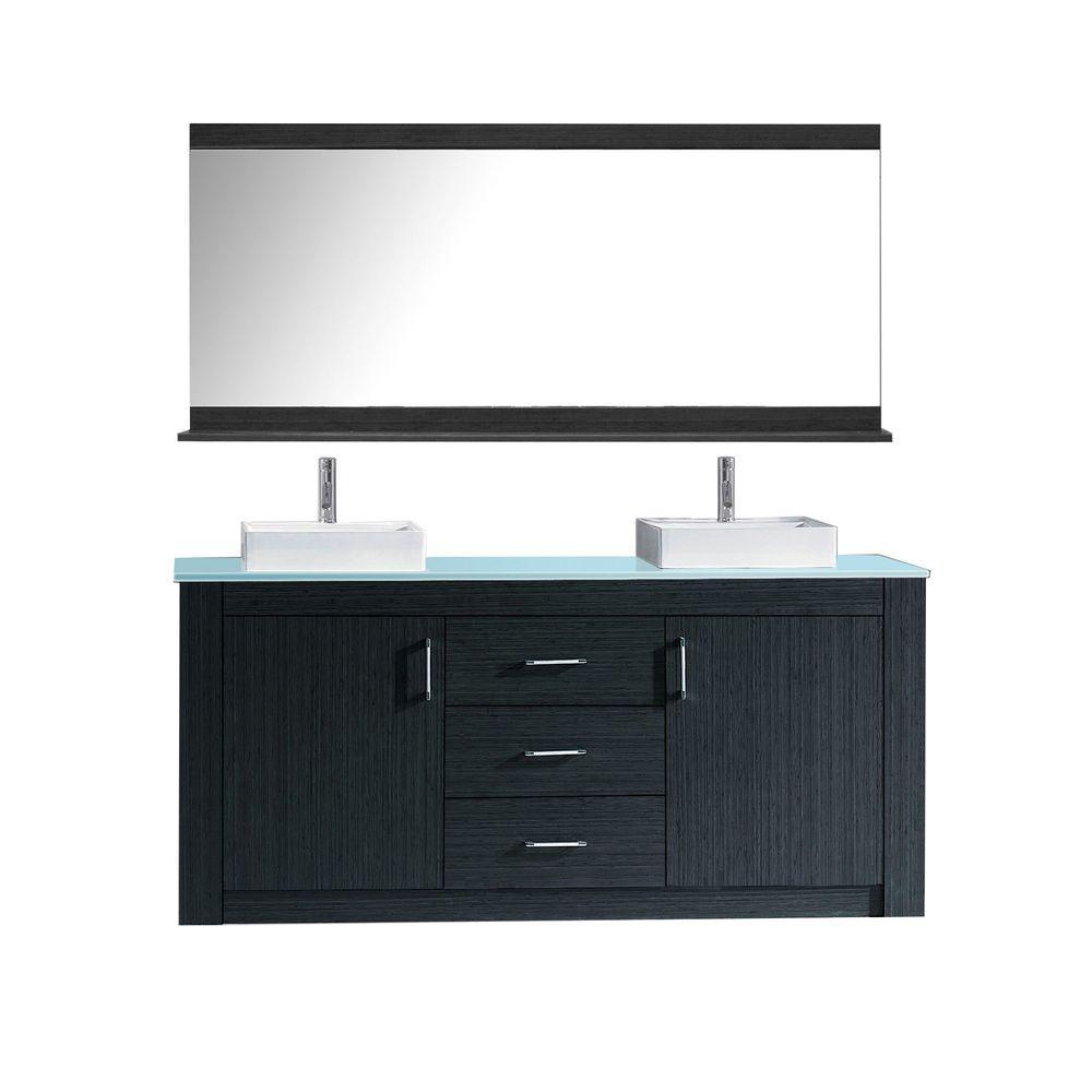 Virtu Usa Tavian 60 In W X 22 In D X In H Vanity In Grey With Glass Vanity Top In Aqua