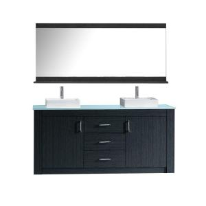 Virtu USA Tavian 60 inch W x 22 inch D x 33.43 inch H Vanity in Grey with Glass Vanity Top in Aqua with Square Basin and... by Virtu USA