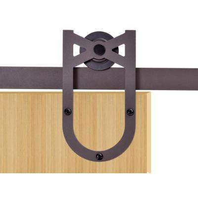72 in. Antique Bronze Heirloom Horseshoe Barn Style Sliding Door Track and Hardware Set