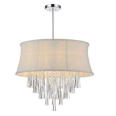 Audrey 8-Light Chrome Chandelier with White shade