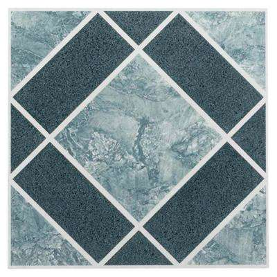 Nexus Blue 12 in. x 12 in. Peel and Stick Diamond Pattern Vinyl Tile (20 sq. ft. / case)