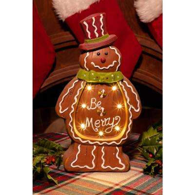christmas gingerbread man light up statue decor tm
