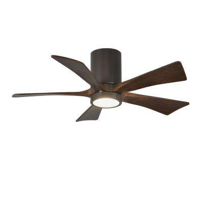 Irene 42 in. LED Indoor/Outdoor Damp Textured Bronze Ceiling Fan with Remote Control, Wall Control