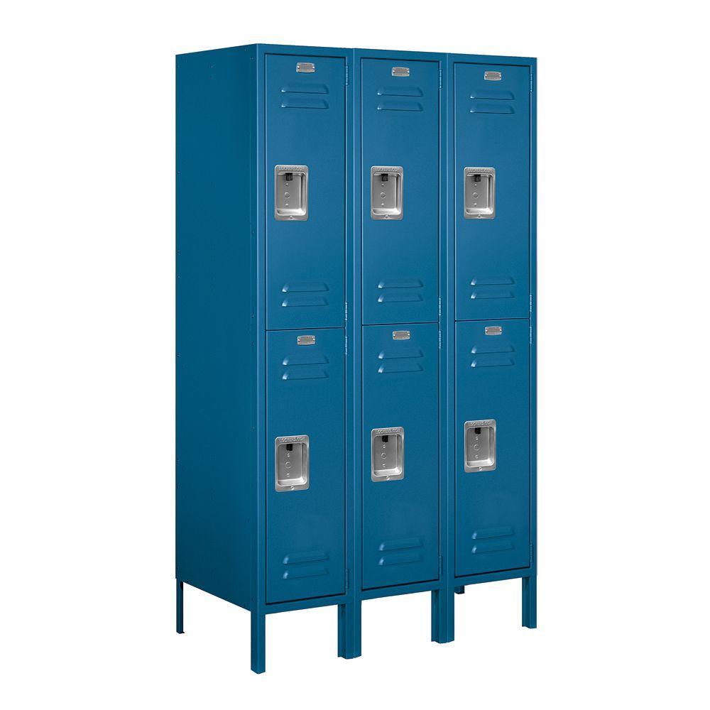 62000 Series 36 in. W x 66 in. H x 18 in. D 2-Tier Metal Locker Assembled in Blue