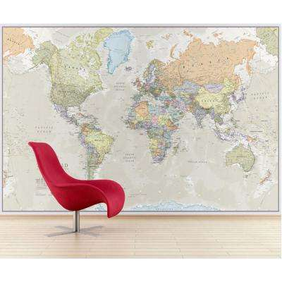 Giant World Wall Map Mural - Antique