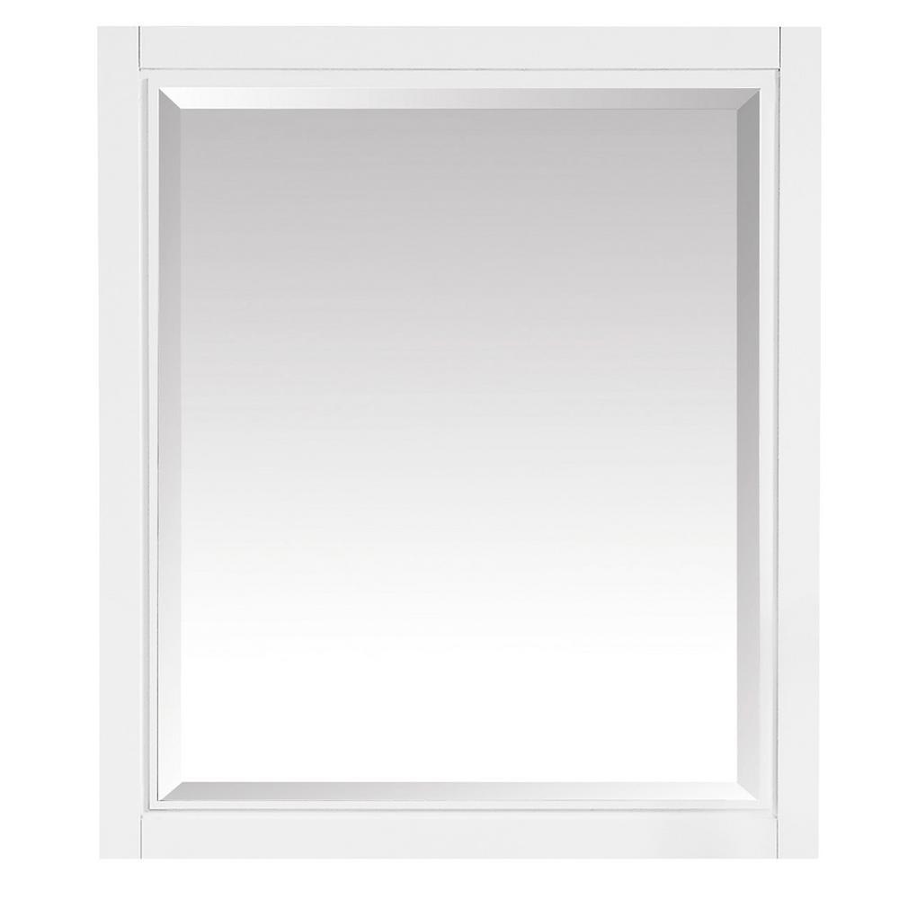 Layla 28 in. x 32 in. Framed Wall Mirror in White