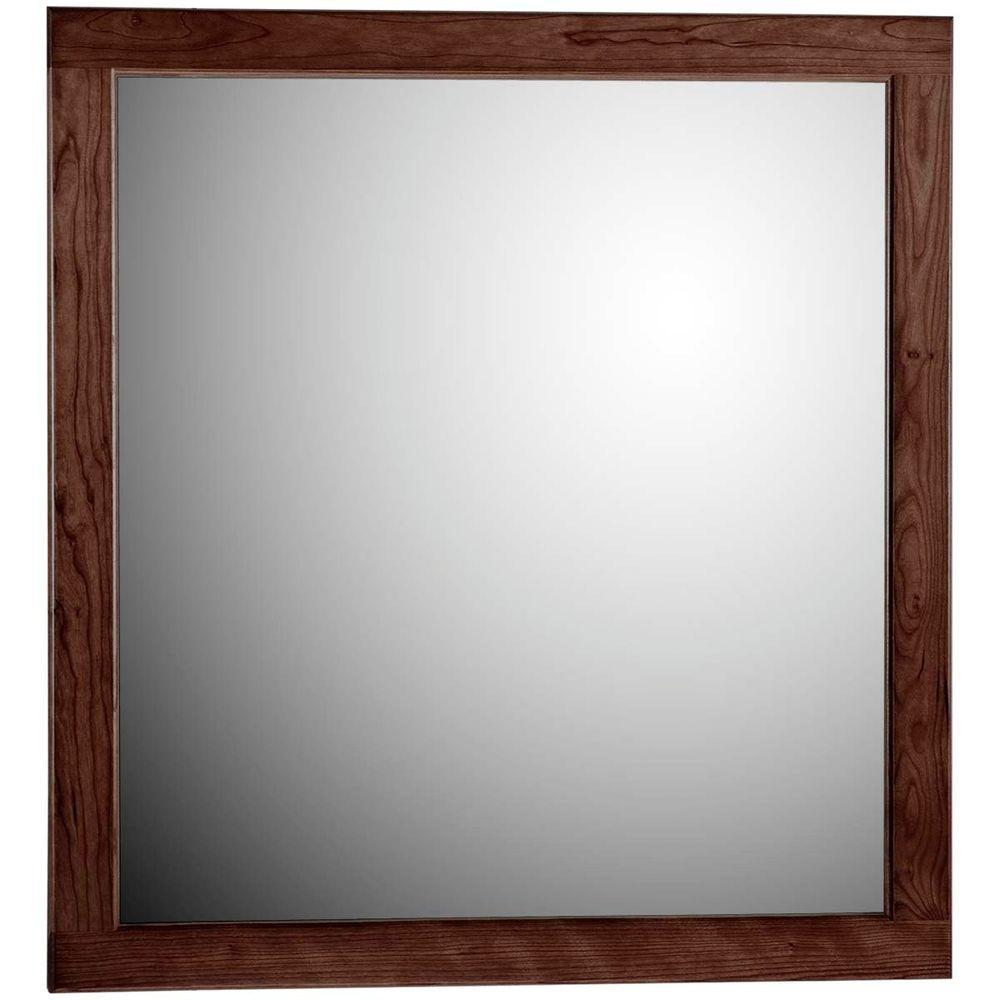 Ultraline 30 in. W x .75 in. D x 32 in. H Framed Wall Mirror in Dark Alder