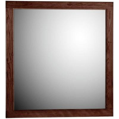 Ultraline 30 in. W x 32 in. H Framed Rectangular Bathroom Vanity Mirror in Dark alder finish