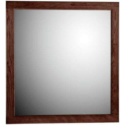 Ultraline 30 in. W x .75 in. D x 32 in. H Framed Wall Mirror in Dark Alder