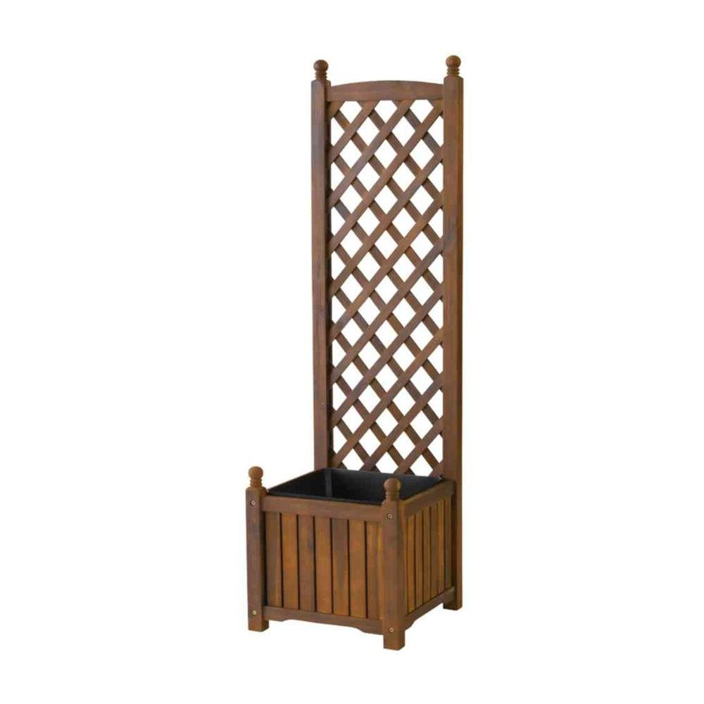 Lexington 16 in. Square Teak Oil Wood Planter with Trellis