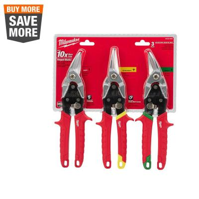 Left, Right, and Straight Aviation Snips (3-Pack)
