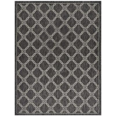 Garden Party Charcoal 8 ft. x 11 ft. Geometric Coastal Indoor/Outdoor Area Rug