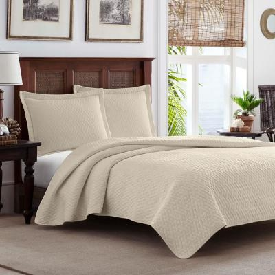 TB Solid 2-Piece White Ivory Cotton Twin Quilt Set