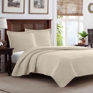 TB Solid 3-Piece White Ivory Cotton Full/Queen Quilt Set