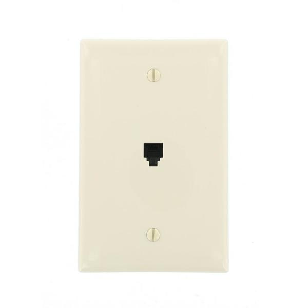 Almond No Gang Phone Jack Wall Plate (1-Pack)