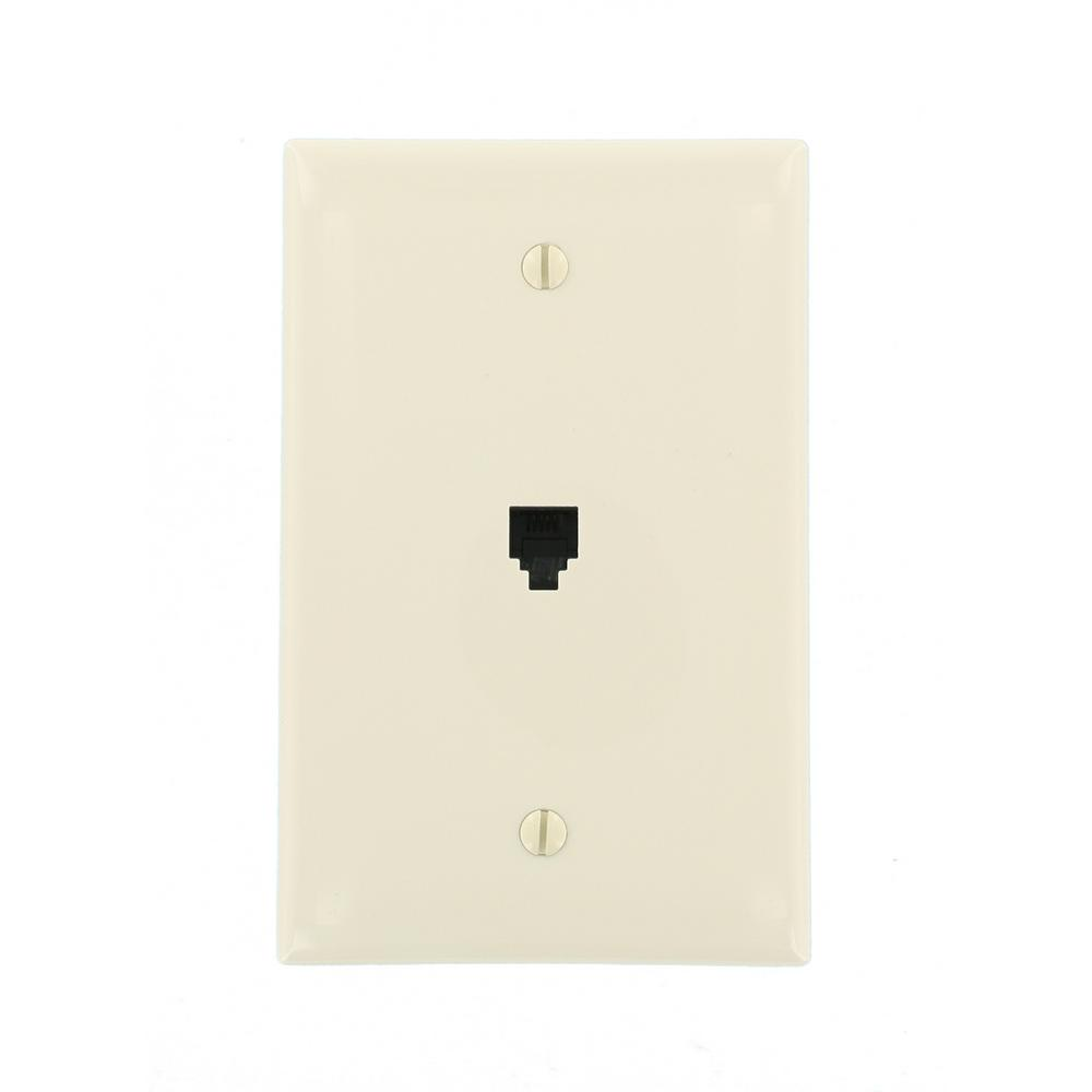 Midway 6P4C Telephone Wall Jack, Light Almond