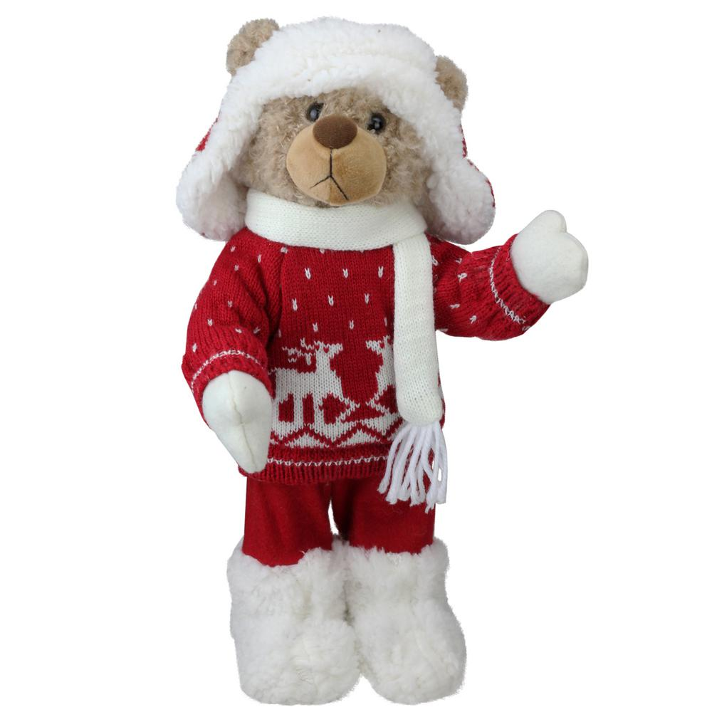 e36f7f43d Northlight 14 in. Retro Christmas Brown Winter Boy Bear in Deer Sweater  Christmas Figure Decoration