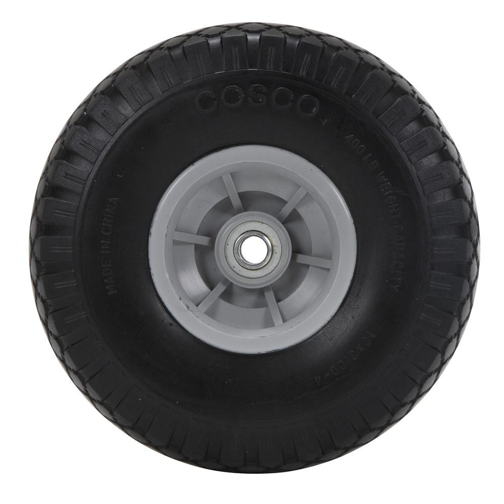 """10/"""" IN SOLID HARD RUBBER REPLACEMENT TIRE WHEEL AND RIM HUB FOR DOLLY HAND CART"""