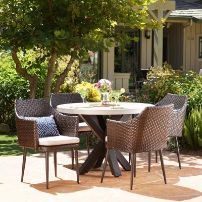 Nyla Multi-Brown and White 5-Piece Polyethylene Wicker Outdoor Dining Set with Beige Cushions