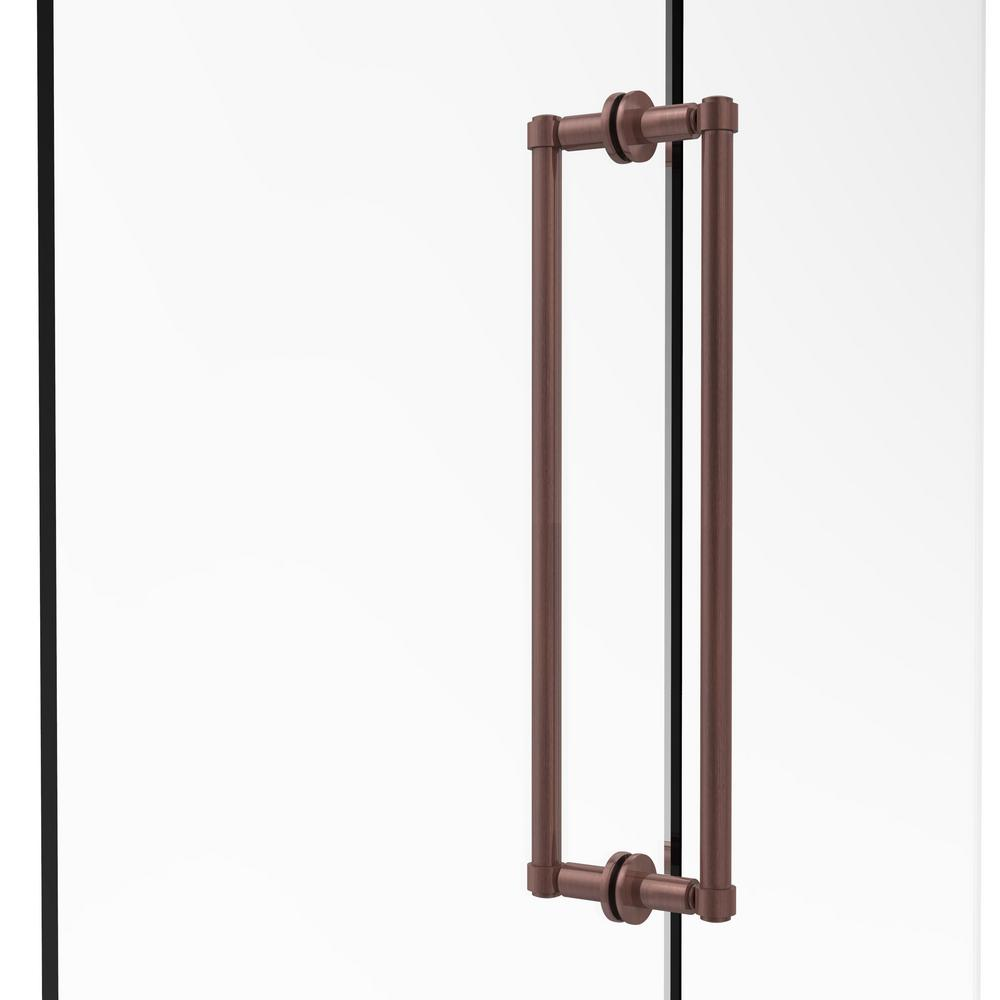 Contemporary 18 in. Back-to-Back Shower Door Pull in Antique Copper