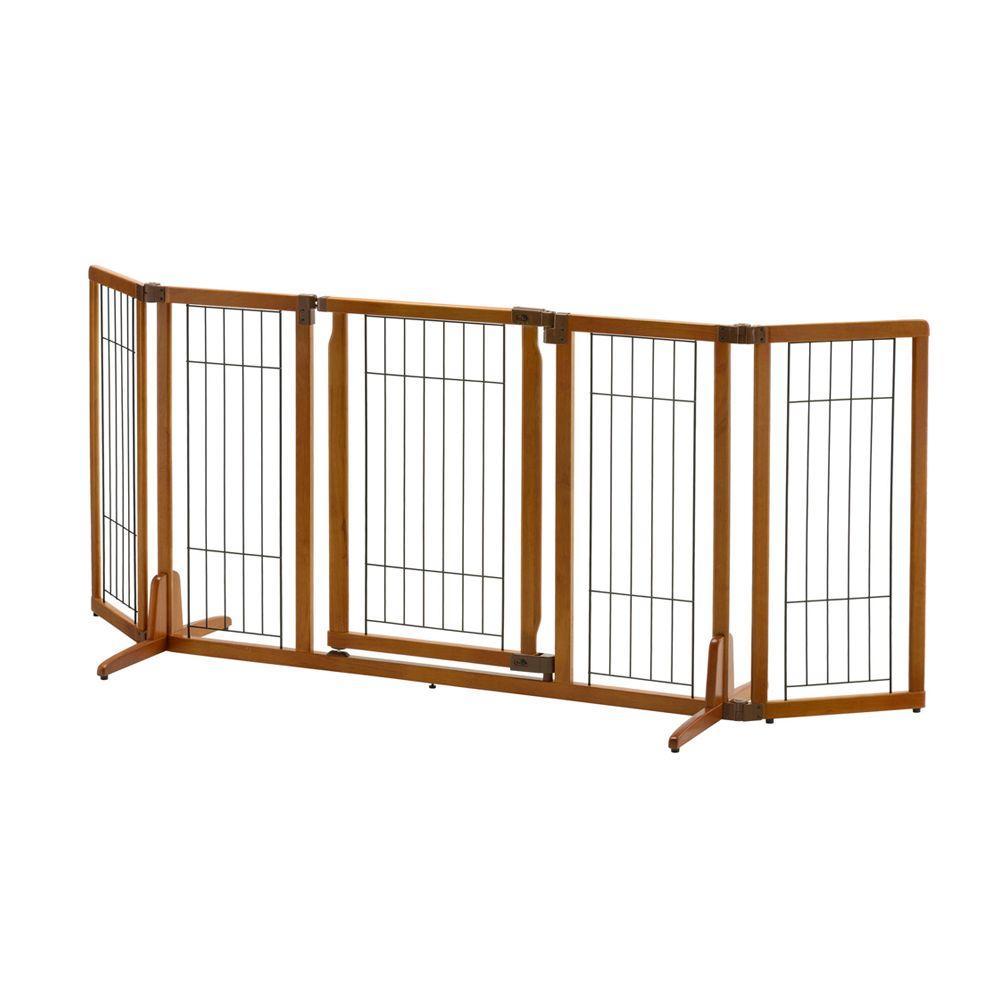 32 in. x 84.3 in. Wide Wood Premium Plus Pet Gate