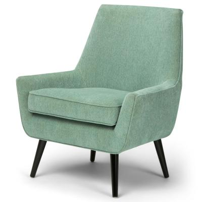 Warhol 30 in. Wide Mid Century Modern Accent Chair in Light Aqua Patterned Fabric