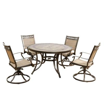 Brown 5-Piece Patio Outdoor Dining Set with 4 Swivel Brown Sling Chair and 48 in. Round Crafttech Top Aluminum Table