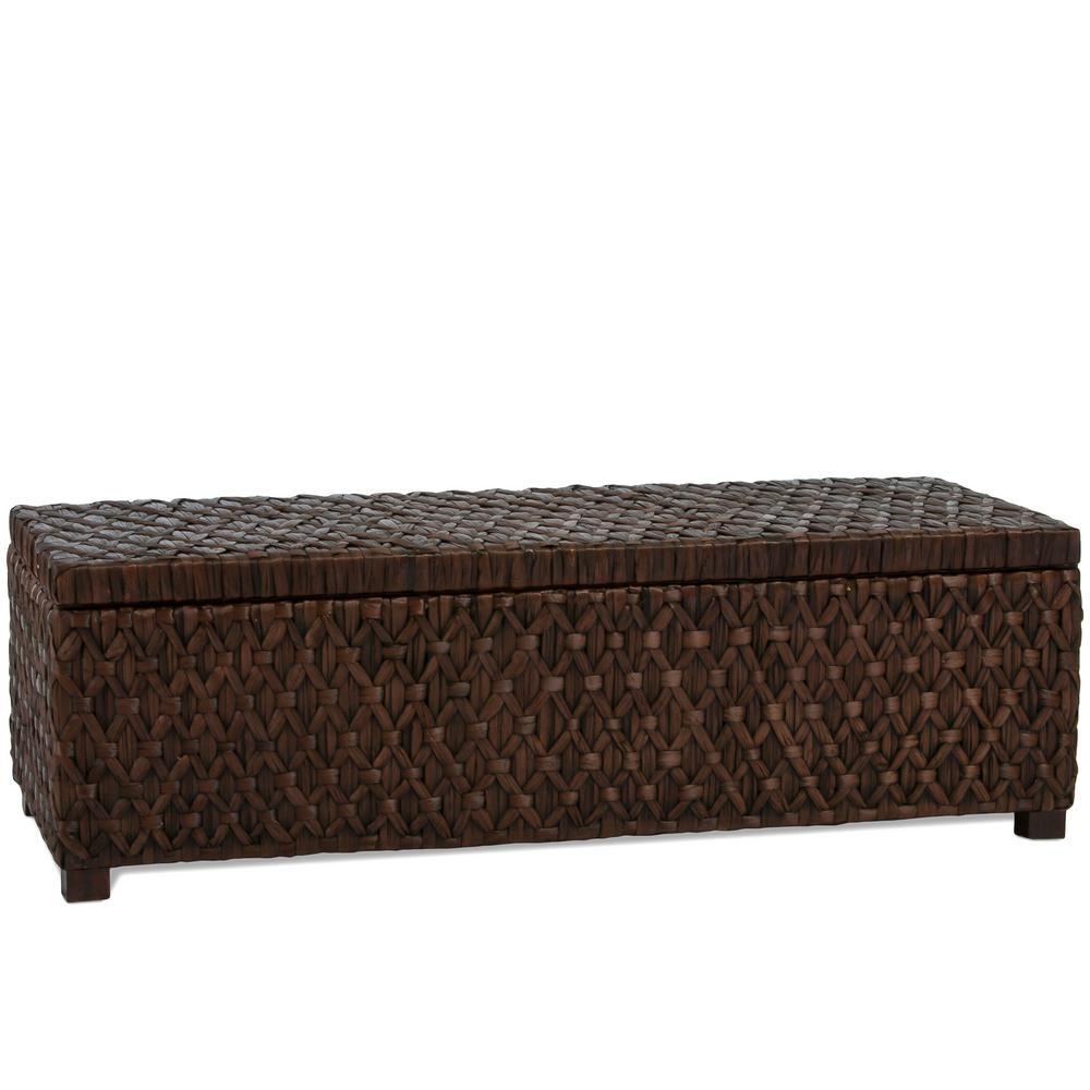Rinaldi Dark Brown Rattan Storage Bench