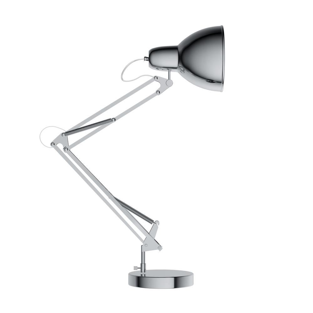 Lavish Home 36 in. Metal Chrome LED Architect Desk Lamp ...