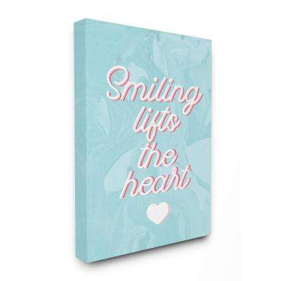 """24 in. x 30 in. """"Smiling Lifts The Heart Script Typography on Blue Marble"""" by Daphne Polselli Canvas Wall Art"""
