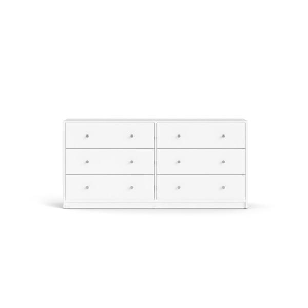 Portland 6 Drawer Double Dresser in White 26.89 in. H x 56.34 in. W x 12.46 in. D