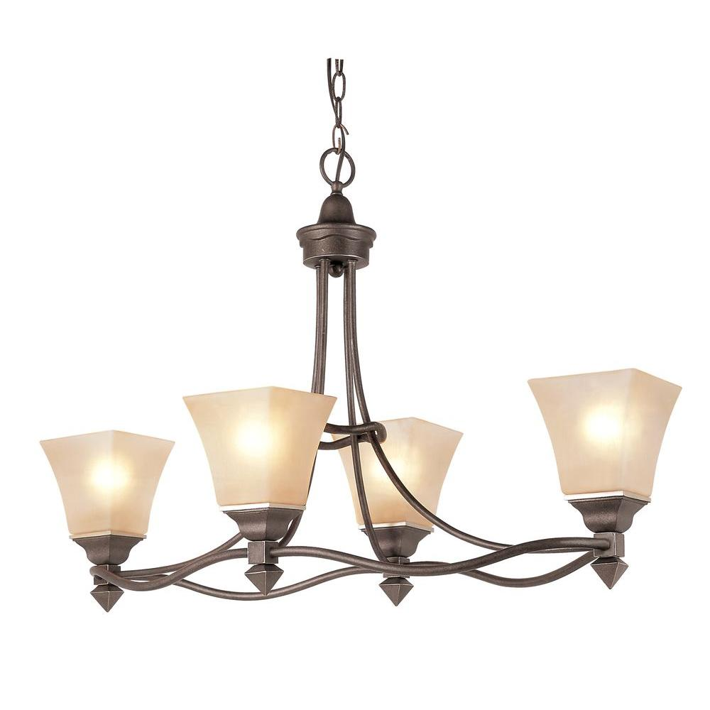 Bel Air Lighting Cabernet Collection 4-Light Antique Bronze Chandelier with Tea Stained Shade