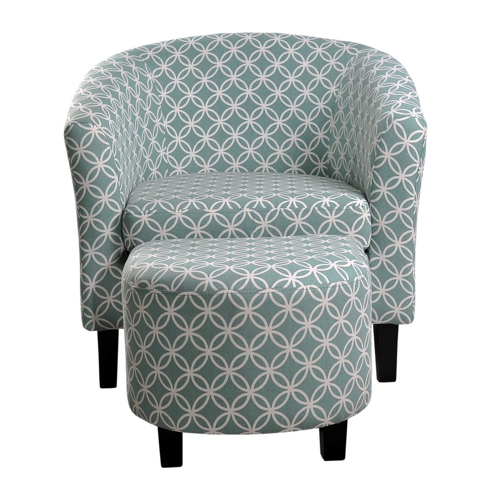 Paisley Accent Chair Under 150: Paisley Light Blue Tub Chair With Ottoman-92004-16LB