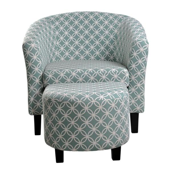 Paisley Light Blue Tub Chair with Ottoman