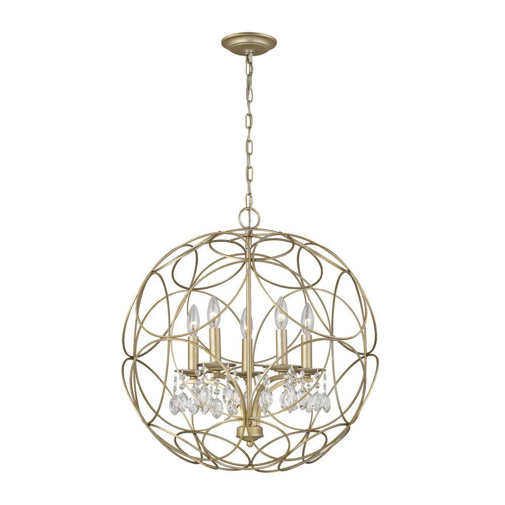 Chandette 5-Light Aged Silver Chandelier
