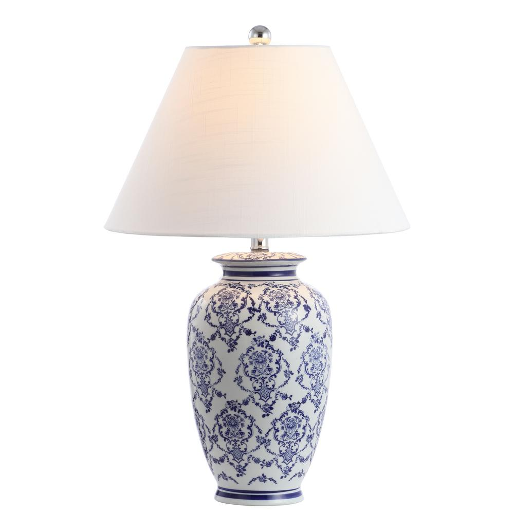 Jonathan Y Juliana 26 25 In Chinoiserie Ceramic Led Table Lamp Blue White Jyl8023a The Home Depot