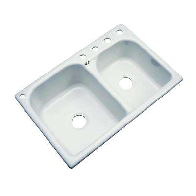 Cambridge Drop-In Acrylic 33 in. 5-Hole Double Bowl Kitchen Sink in Ice Grey
