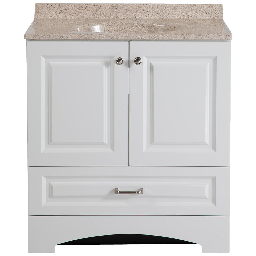 Glacier Bay Lancaster 30 in. W x 19 in. D Bath Vanity in White with Colorpoint Vanity Top in Maui