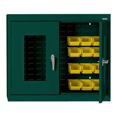 30 in. H x 36 in. W x 12 in. D Clear View Bin Wall Cabinet in Forest Green