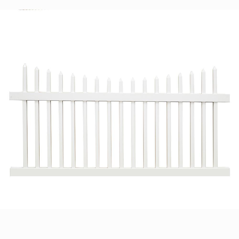 Stratford 3 ft. H x 6 ft. W White Vinyl Picket Fence Panel Kit