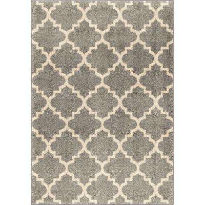 Ginter Gray 7 ft. 10 in. x 10 ft. 10 in. Geometric Trellis Indoor Area Rug