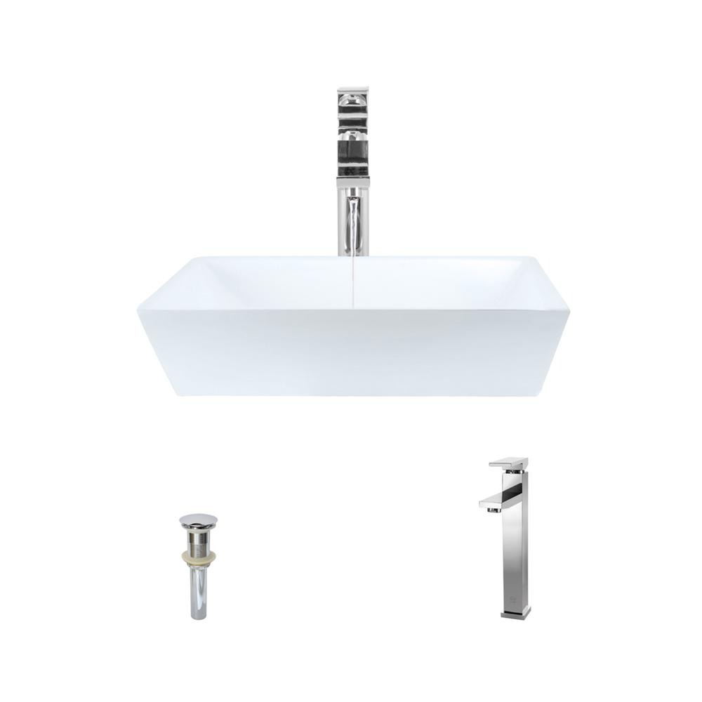 MR Direct Porcelain Vessel Sink in White with 721 Faucet and Pop ...