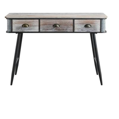47 in. Rectangular Black/Gray 3 Drawer Writing Desk with Built-In Storage