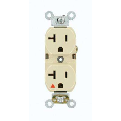 20 Amp Industrial Grade Heavy Duty Isolated Ground Duplex Outlet, Ivory