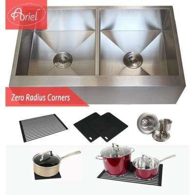 Farmhouse Flat Apron Stainless Steel 36 in. x 21 in. x 10 in. 16-Gauge Double 50/50 Bowl Zero Radius Kitchen Sink Combo