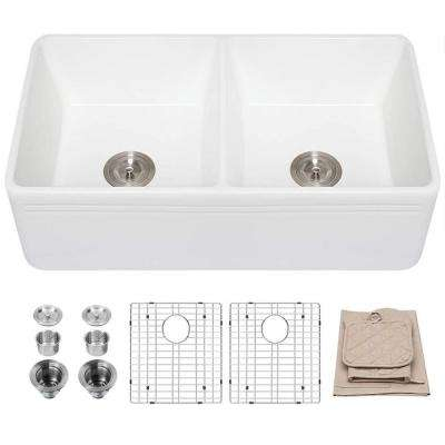 White Fireclay 33 in. Double Bowl Farmhouse Kitchen Sink