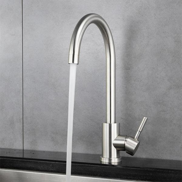 Unbranded Single Hole Single Handle Standard Kitchen Faucet In Brushed Nickel Ypg331 The Home Depot