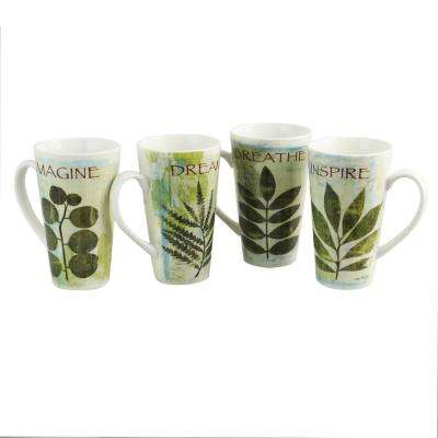 Nature Pressed 16 oz. Cone Shape Assorted Colors Mug (Set of 4)