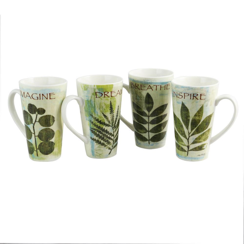 Nature Pressed 16 oz. Cone Shape Assorted Colors Mug (Set of 4)