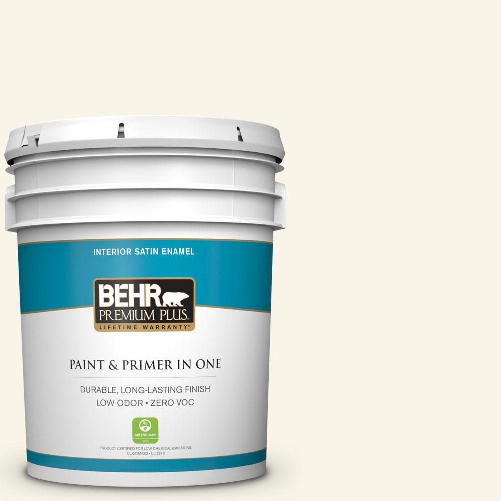 BEHR Premium Plus 5-gal. #PWN-11 Calla Lily Zero VOC Satin Enamel Interior Paint